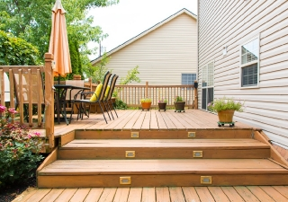 Deck with lighted steps
